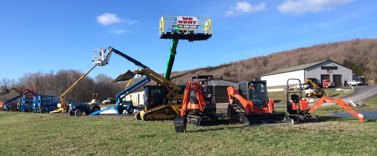 Boom lifts, mini-excavators, skidsteers, tractors, and more are always in stock